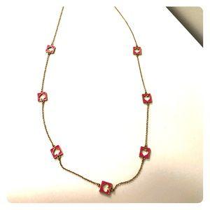Kate Spade gold/ hot pink spade long necklace